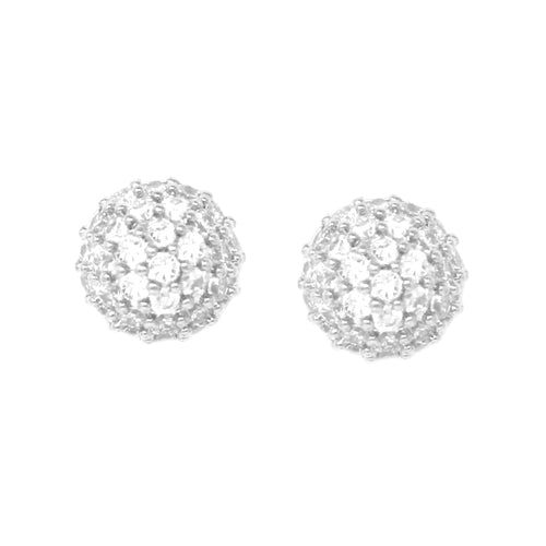 Cubic Zirconia Pave Mini Stud Earrings