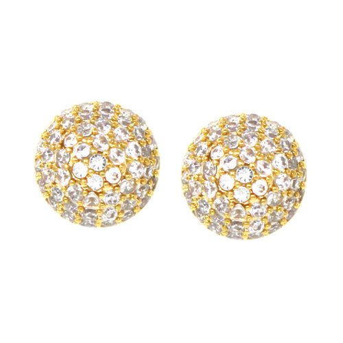 Cubic Zirconia Pave Mini Button Stud Earrings