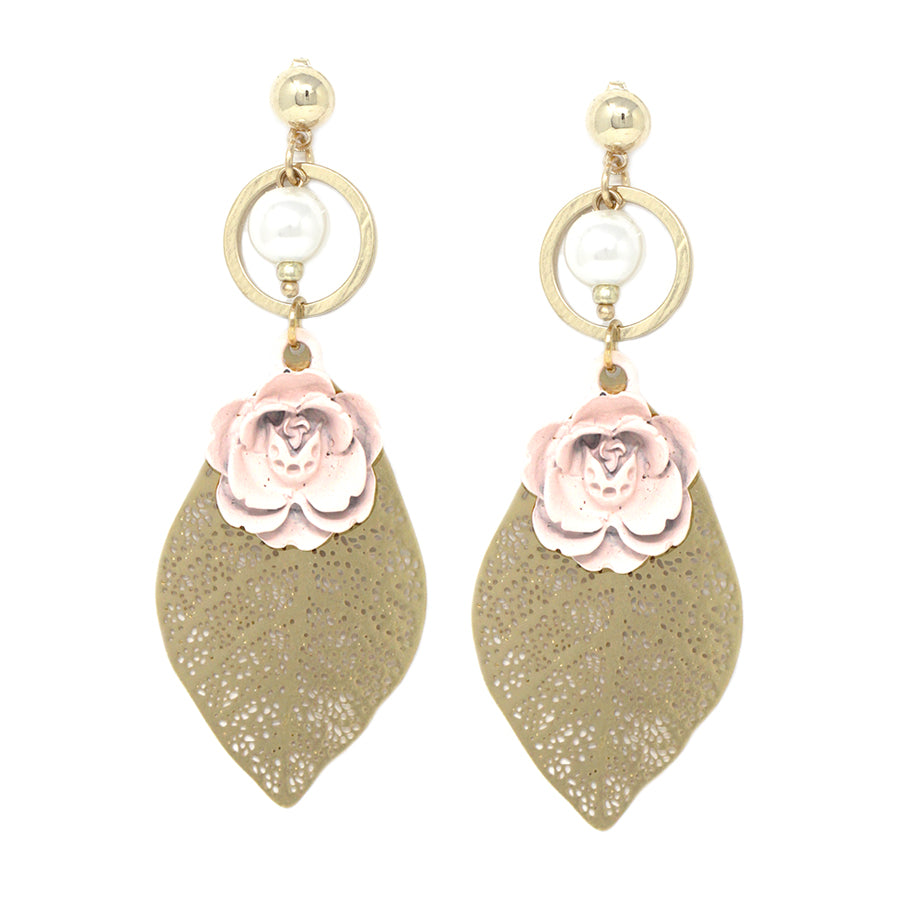Filigree Leaf Mini Rose Drop Earrings