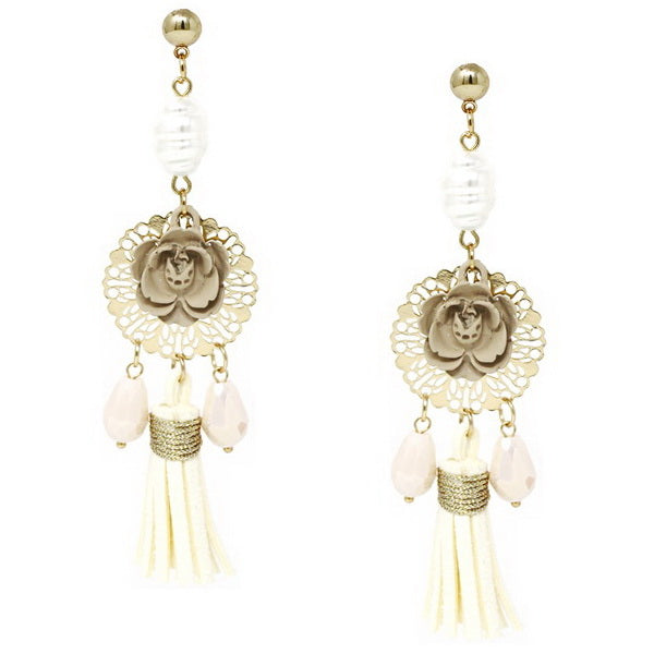 Filigree Flower Leather Tassel Drop Earrings