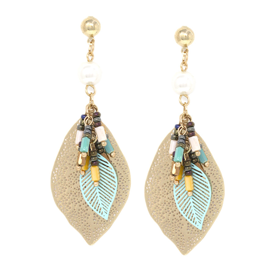 Seed Beaded Fringe Filigree Leaf Drop Earrings