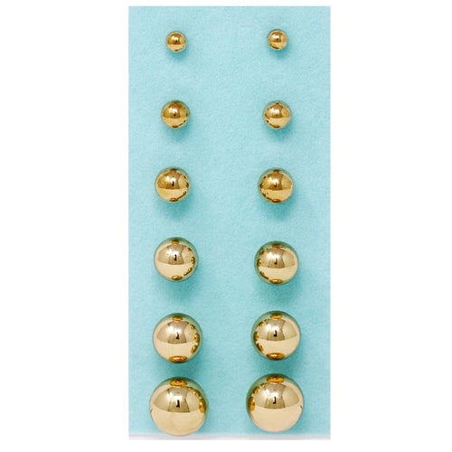 Basic Metal Ball Gradual Size Stud Earrings Pack