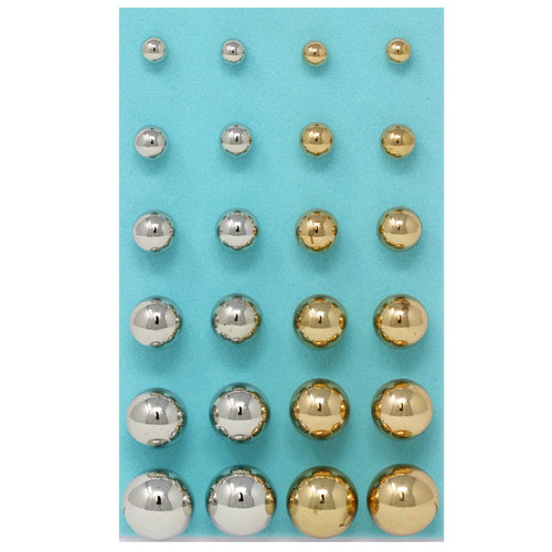 Two Tone Basic Metal Ball Gradual Size Stud Earrings Pack