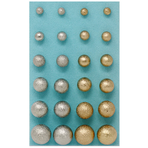 Two Tone Basic Shiny Metal Ball Gradual Size Stud Earrings Pack