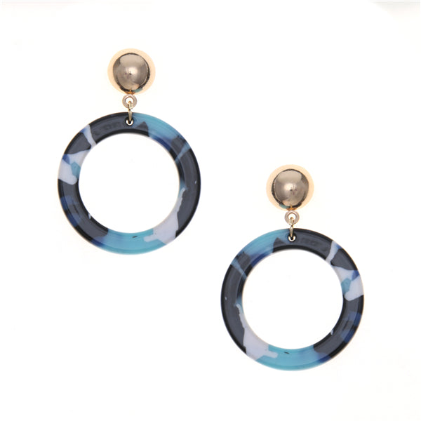 Lightweight Tortoise Hoop Drop Earrings