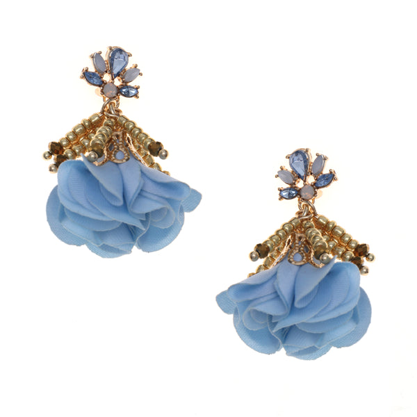 Mini Bead Tassel Fabric Flower Petal Earrings