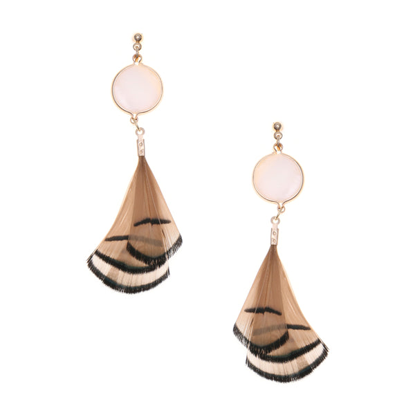 Lightweight Feather Fringe Glass Bead Drop Earrings