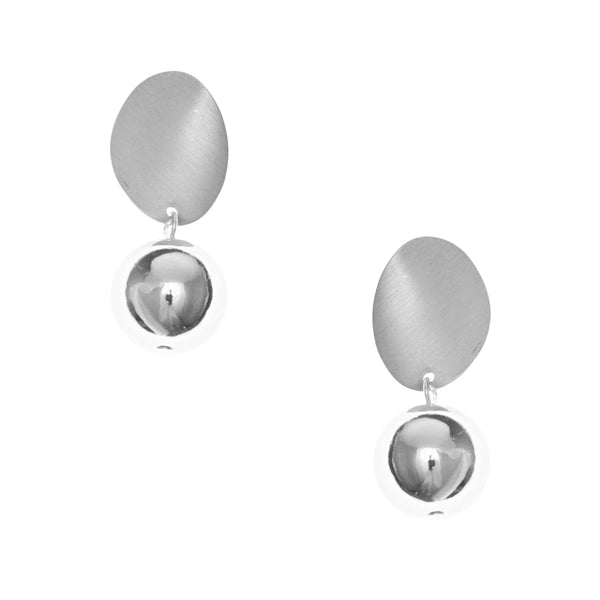 Curved Plate Ball Drop Earrings