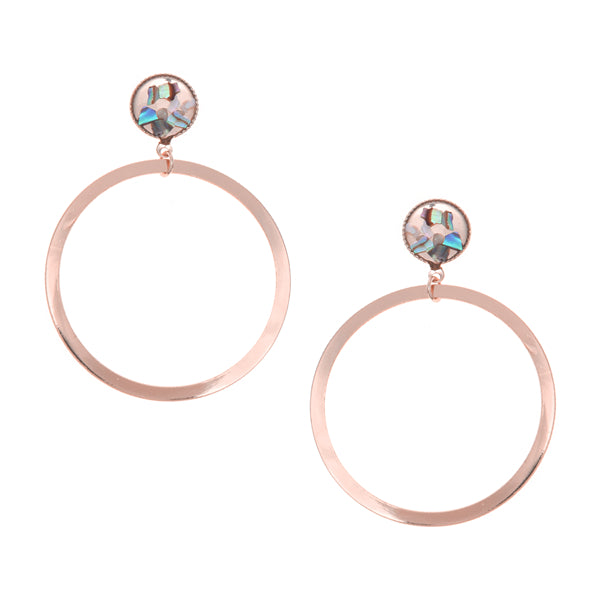 Confetti Glitter Metal Hoop Drop Earrings