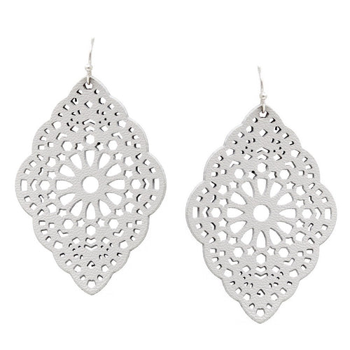 Filigree Laser Cutout Faux Leather Vintage Frame Drop Earrings