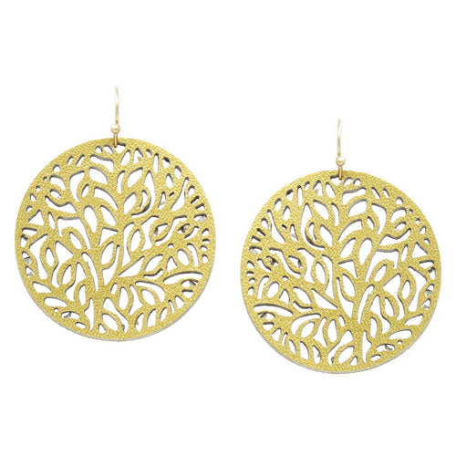 Filigree Laser Cutout Faux Leather Disc Drop Earrings