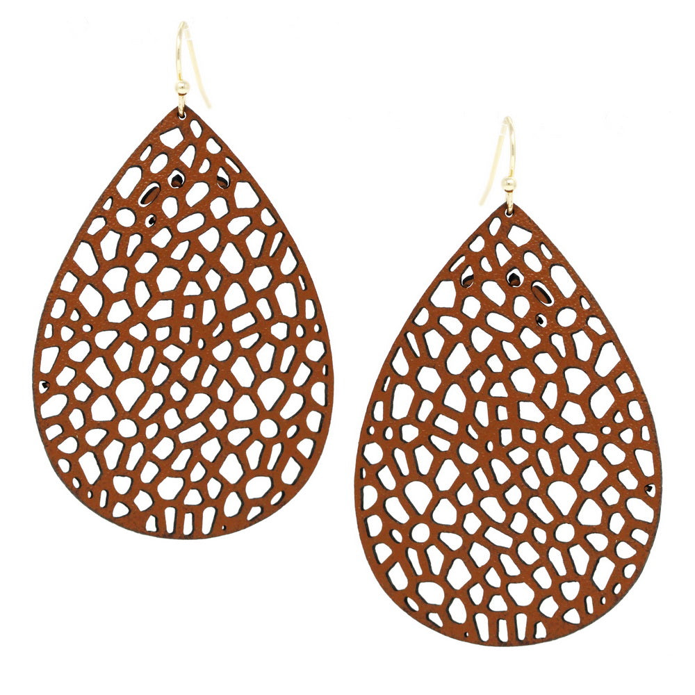 Teardrop Cutout Vegan Leather Earrings