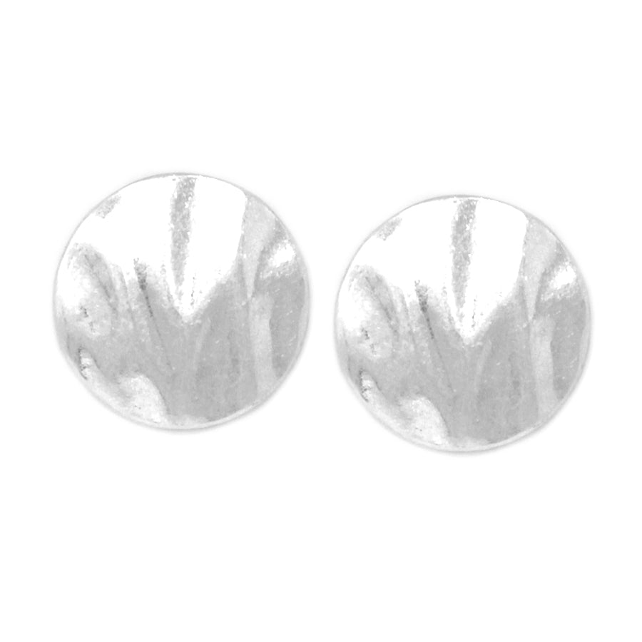 Hammered Metal Disc Stud Earrings