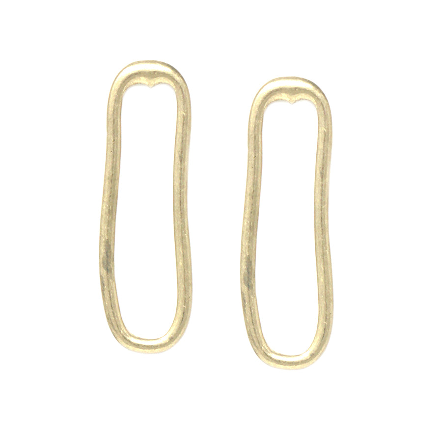 Geometric Liquid Oval Drop Earrings