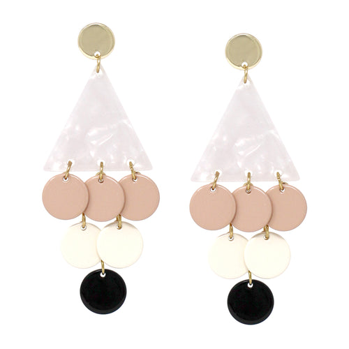 Triangle Acetate With Color Coated Metal Disc Dangle Earrings