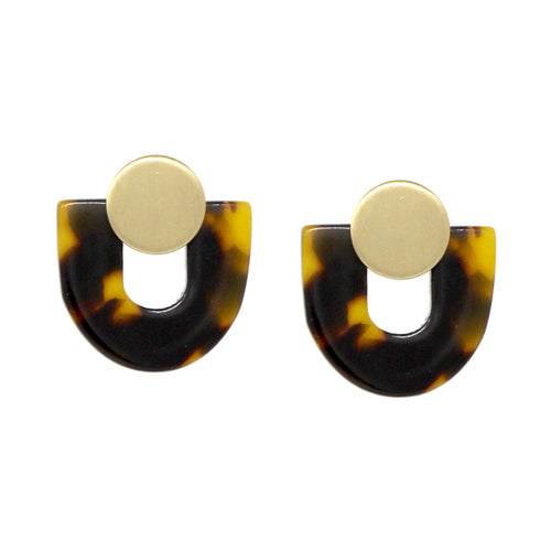 U- Shape Acetate With Mini Disc Stud Earrings