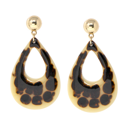 Chunky Print Acetate Tear Drop Earrings