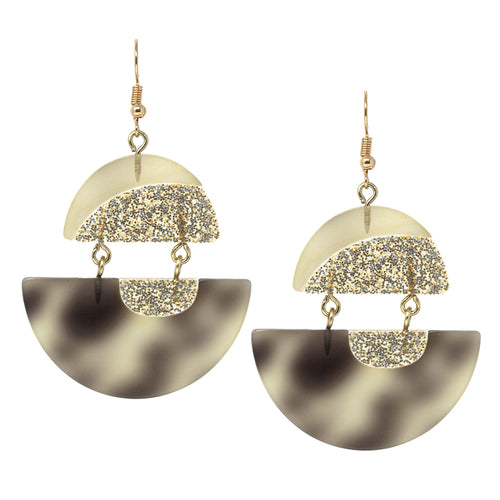 Glitter Half Disc Acetate Double Drop Earrings