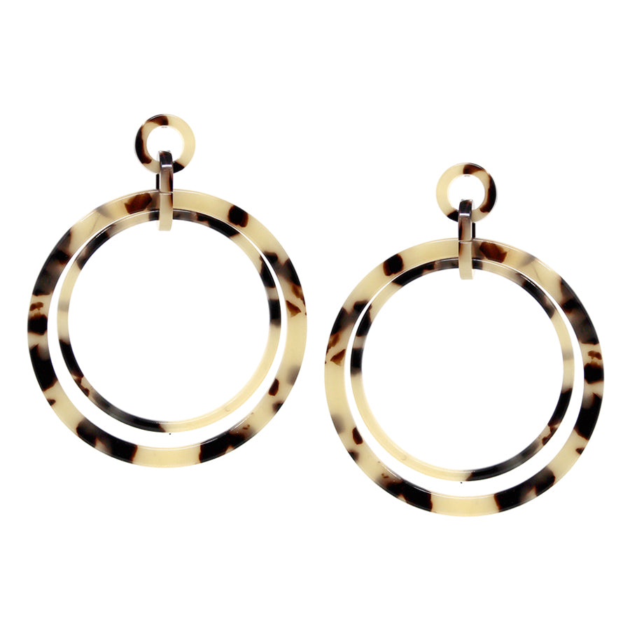 Texture Acetate Double Hoop Layered Drop Earrings