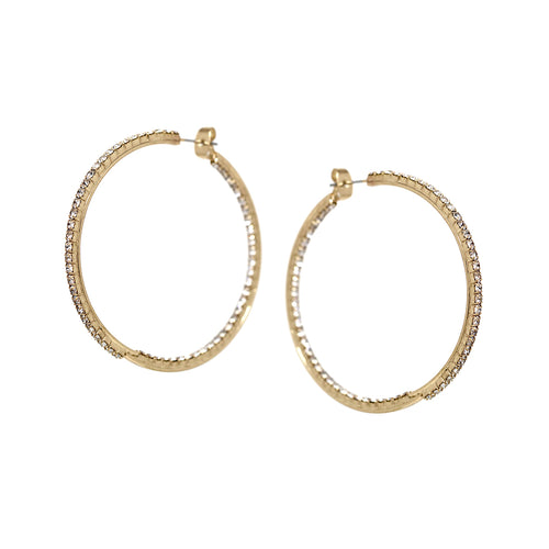 Rhinestone Pave Inside-Out Hoop Earrings (50 mm)