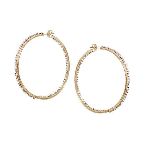 Rhinestone Pave Inside-Out Hoop Earrings (60 mm)