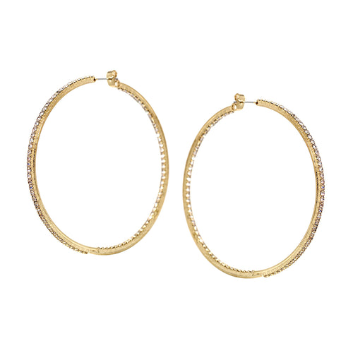 Rhinestone Pave Inside-Out Hoop Earrings (70 mm)