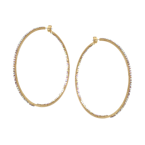 Rhinestone Pave Inside-Out Hoop Earrings (80 mm)