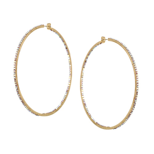 Rhinestone Pave Inside-Out Hoop Earrings (90 mm)