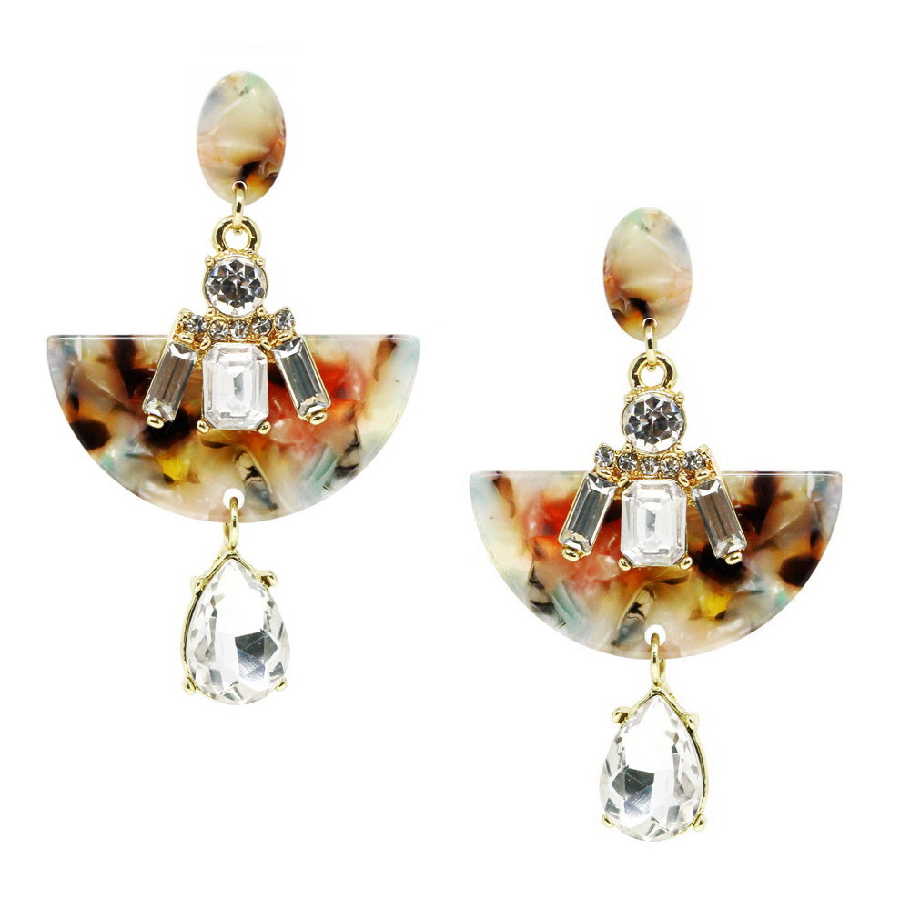Glass Stone Cluster Acetate Half Disc Drop Earrings