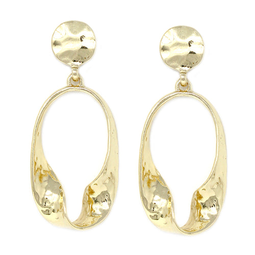 090c8b07 Twisted Oval Shape Hammered Texture Metal Drop Earrings