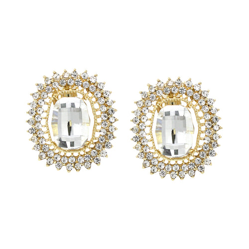 Pave Stone With Oval Glass Stone Clip On Earrings