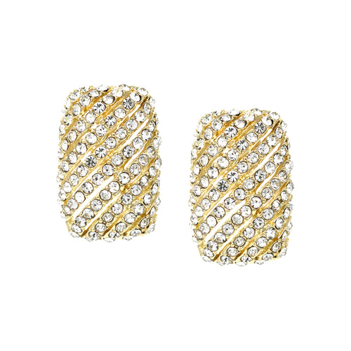 Pave Glass Stone Rectangle Clip On Earrings