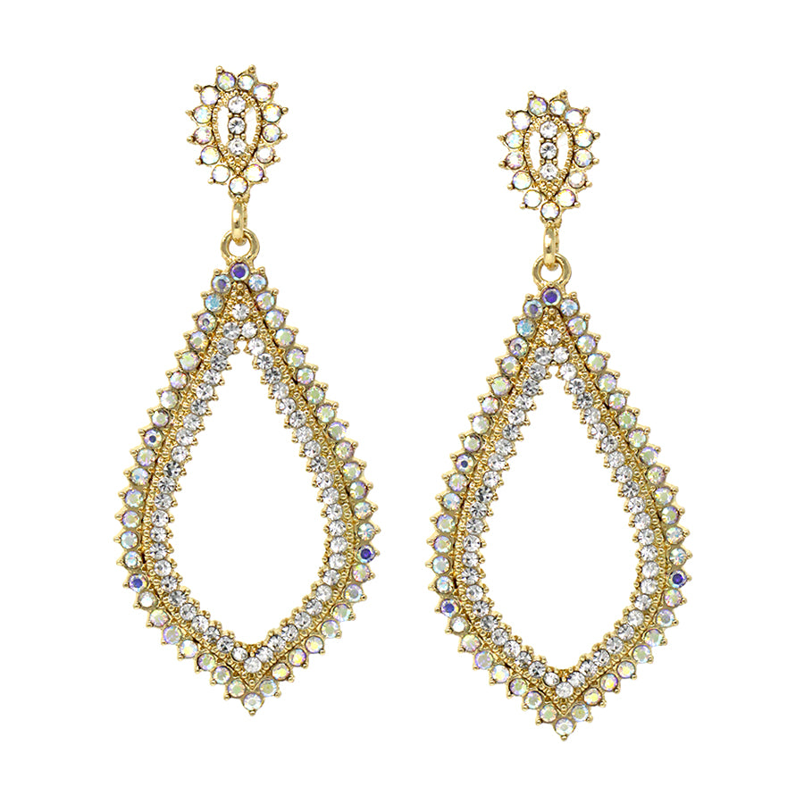 Double Row Pave Glass Stone Tear Drop Earrings