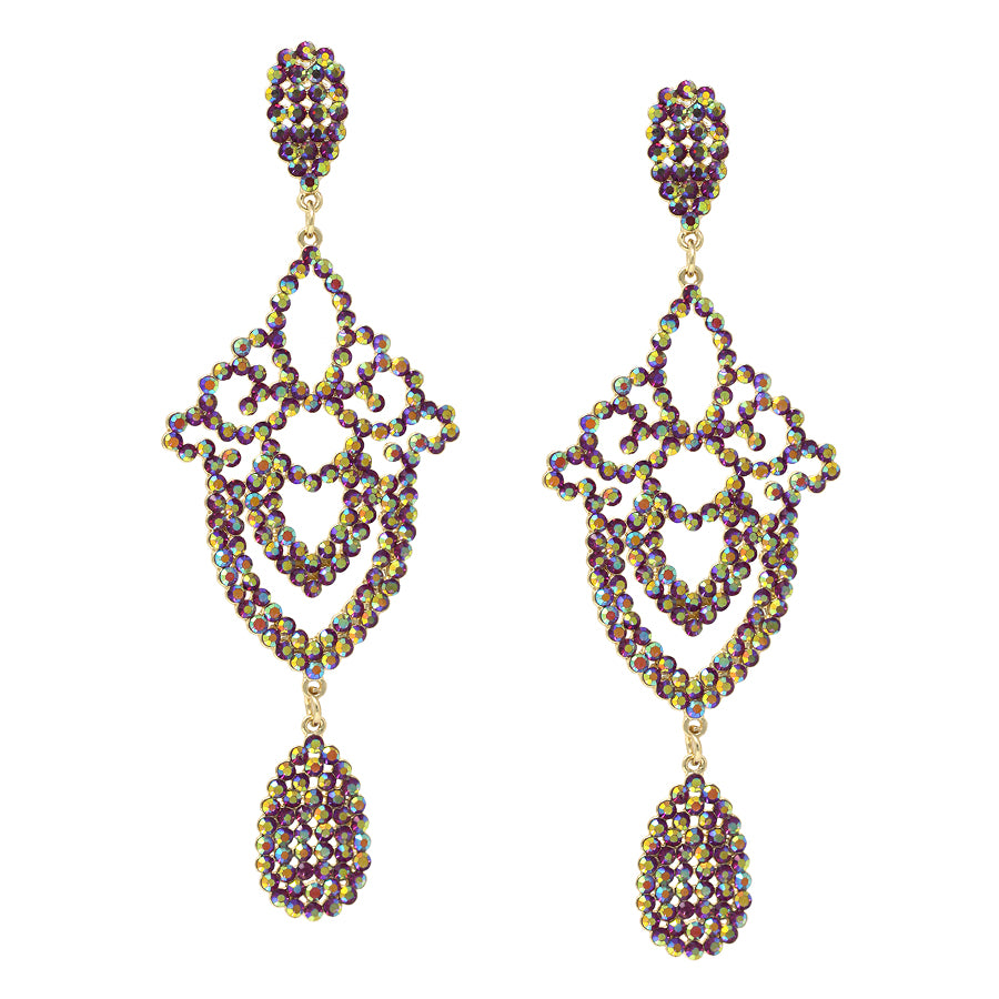 Rhinestone Lace Cutout Statement Drop Earrings