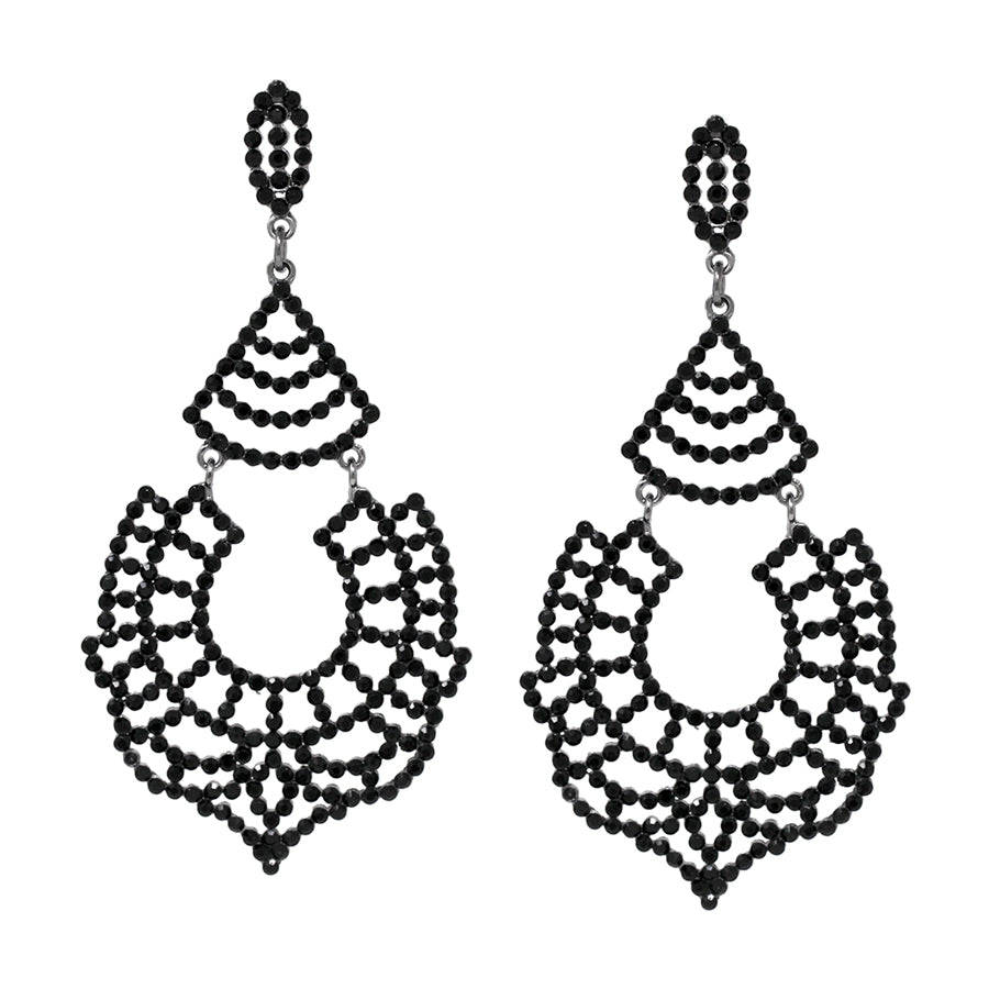 Rhinestone Lace Cutout Statement Earrings