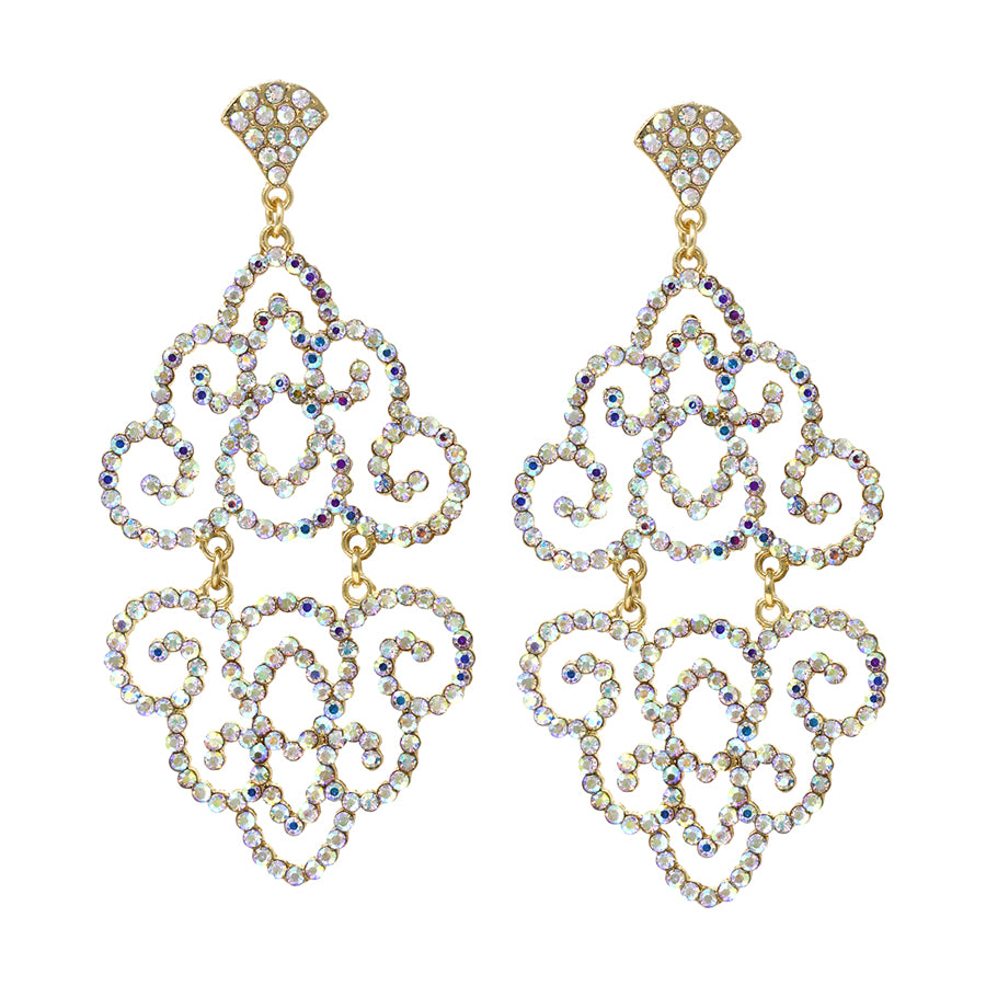 Rhinestone Filigree Cutout Drop Earrings