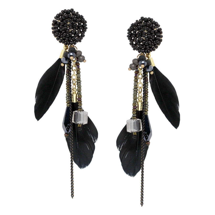 Feather With Glass Stone Fringe Drop Earrings