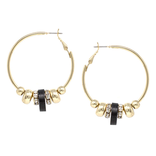 Sliding Wood Glass Metal Spacer Hoop Earrings