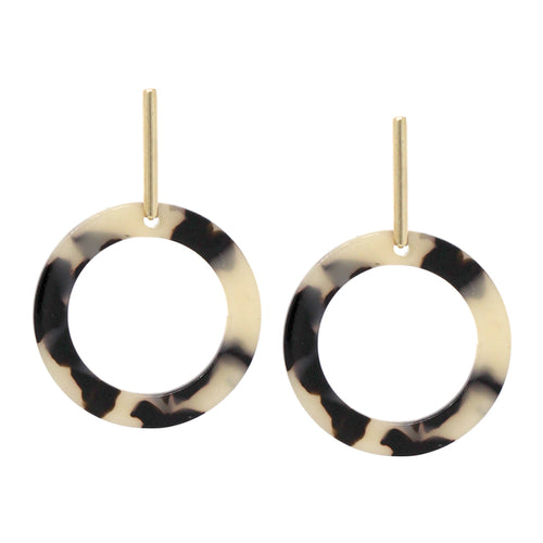 Thin Metal Bar With Hoop Dangle Earrings