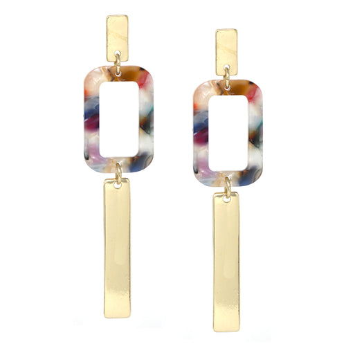 Rectangle Bar And Acetate Drop Earrings