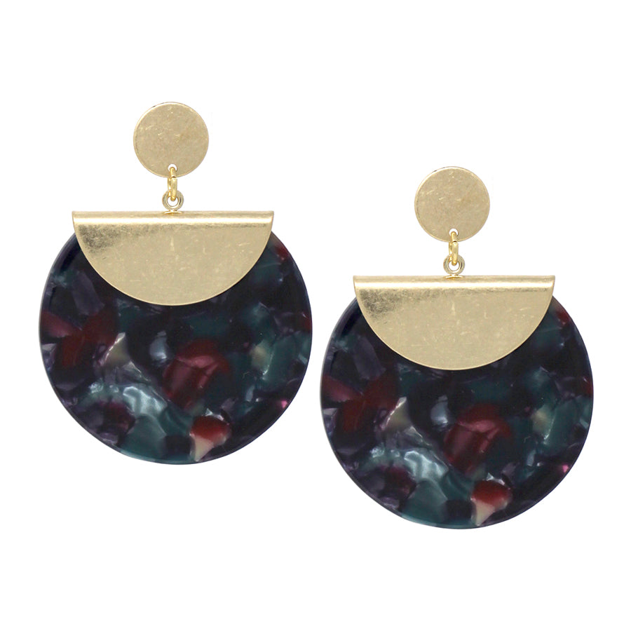 Metal Disc And Acetate Disc Drop Earrings