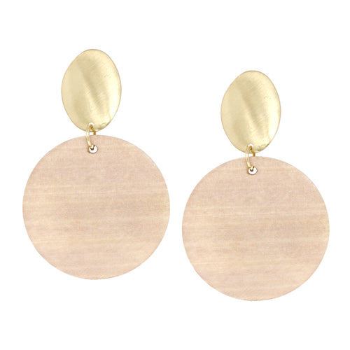 Oval Metal With Wood Disc Drop Earrings