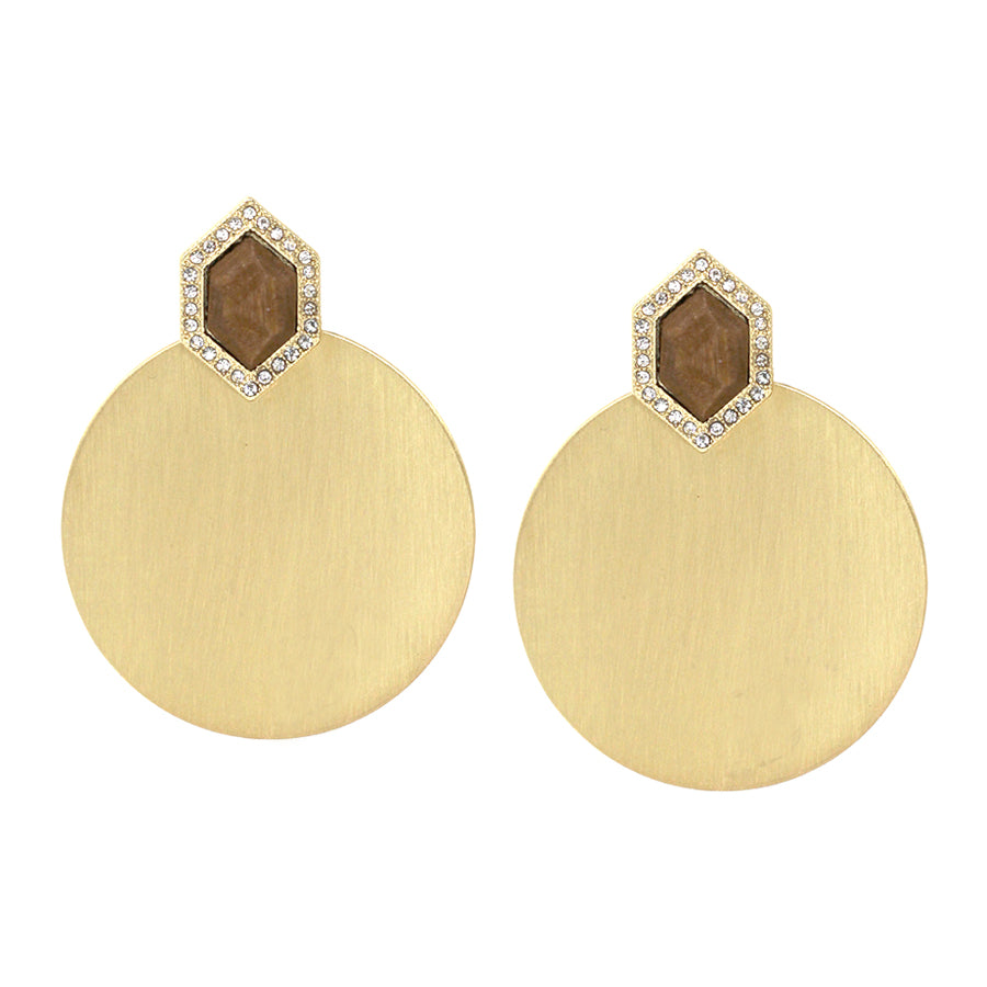 Pave Glass Stone Wood Top With Disc Dangle Earrings