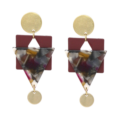 Geometric Metal With Acetate Drop Earrings