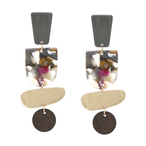 Geometric Acetate And Metal With Wood Disc Drop Earrings