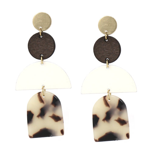 Metal And Wood Disc Geometric Drop Earrings