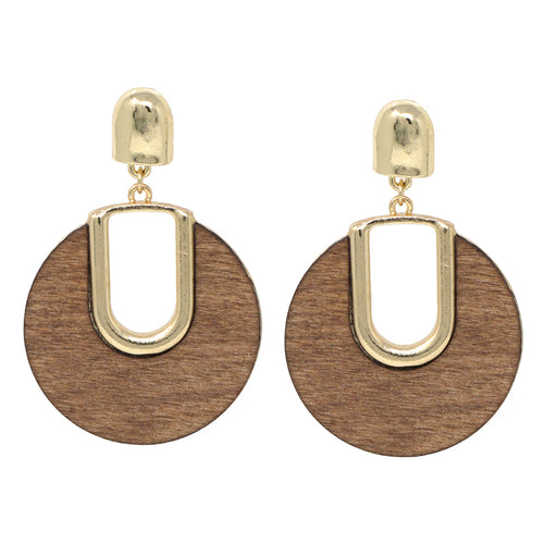 Cutout Wood / Acrylic Disc Drop Earrings
