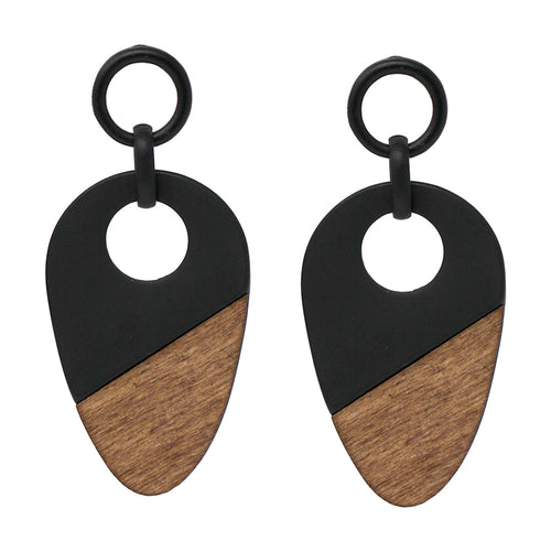 Matte Finished Metal Hoop With Wood Drop earrings