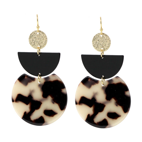 Color Coated Metal With Acetate Disc Drop Earrings