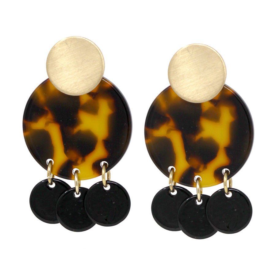 Acetate Disc With Color Metal Disc Dangle Earrings
